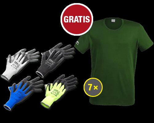 Gratis-Prämien Handschuhpaket und T-Shirt Bison X