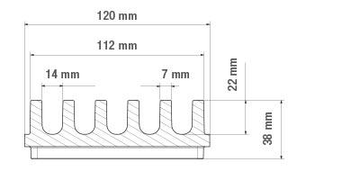 Abmessung der Entwässerungsrinne FGK, flach